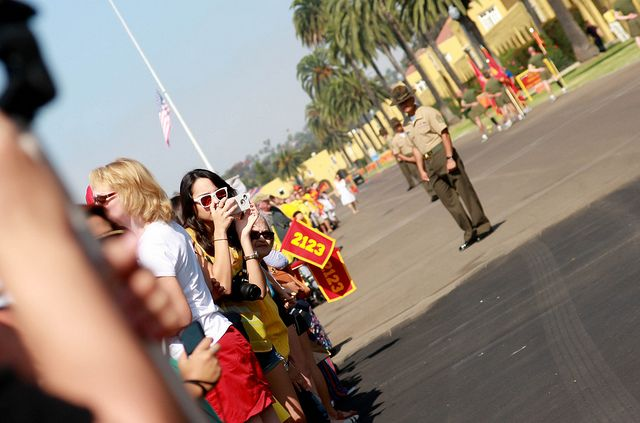 Waiting to see their Marine's for the first time!: Marine, Photo