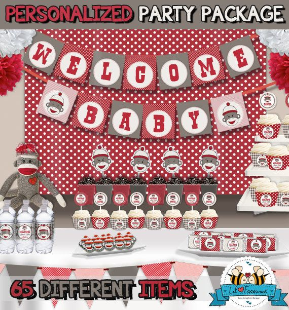 SALE Sock Monkey Baby Shower Party Package  by LilFacesPrintables, $24.99