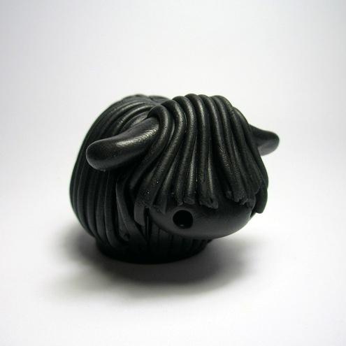 """Wee Black Sheep"" in polymer clay by Kristen Miller"