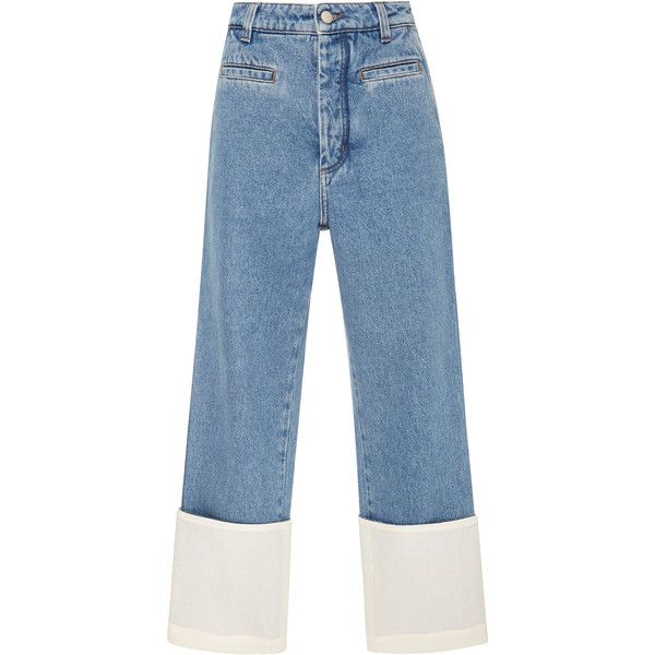 Loewe Fisherman Stonewashed Cuffed Jeans (2.520 RON) ❤ liked on Polyvore featuring jeans, pants, bottoms, blue, denim, cuff jeans, cuffed cropped jeans, stone washed jeans, blue denim jeans and cuffed denim jeans