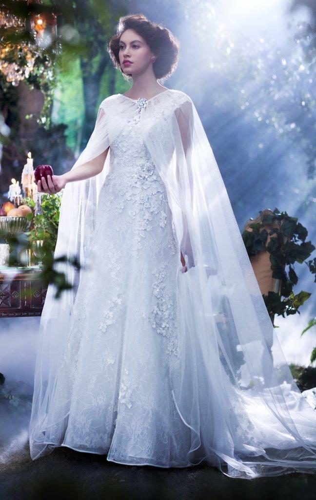 Brudekjolen er inspireret af Snehvide (Snow White) fra Disney og er i kollektionen Disney's Fairy Tale Weddings og designet af brudekjoledesigneren Alfred Angelo.