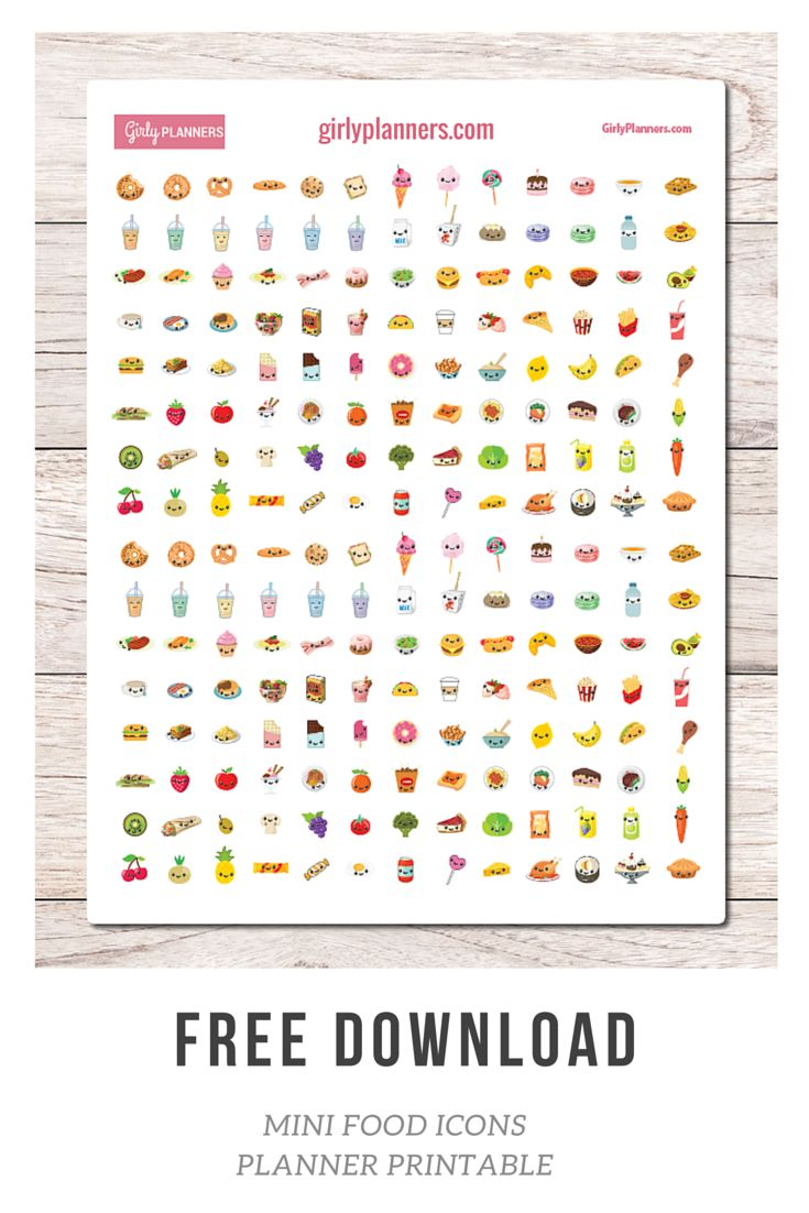Free Printable Planner Stickers: Mini Food Icons - I use these in my bullet journal when I want to decorate what I'm eating that day.