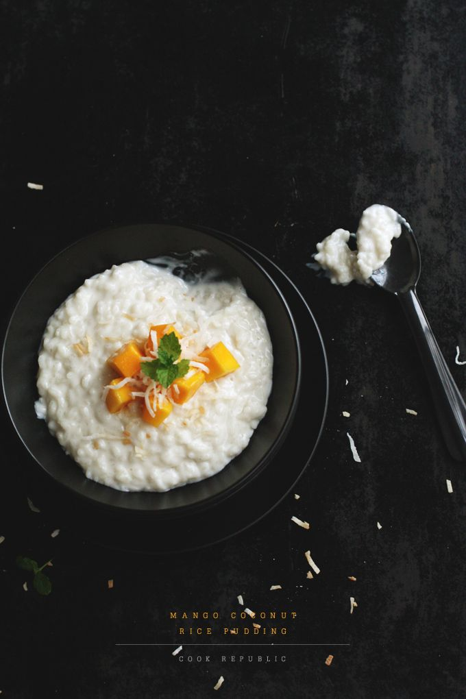 MANGO COCONUT RICE PUDDING    A luscious, creamy dairy-free dessert non-traditionally made with coconut milk and topped with cubes of sweet, juicy mangoes and toasted coconut flakes.  http://www.cookrepublic.com/recipe-archive/mango-coconut-rice-pudding/#
