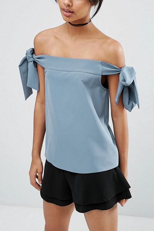 Say hi to this fashion off shoulder top and make it your new favorite this season. The top sits comfortably off the shoulder for a sexy look, with tied on both side. Finish it with denim shorts or jeans is perfect.