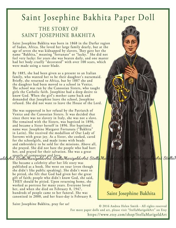 Saint Josephine Bakhita Paper Doll Color and BnW