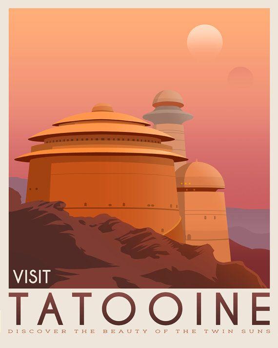 Affiche Planera Tatooine. Voyage rétro d'affiches de Tatooine. Illustration d…