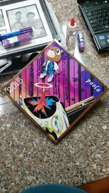 Graduation cap customized and inspired by Kanye West Graduation album cover #co2015 #kanyewest #kanye #graduation