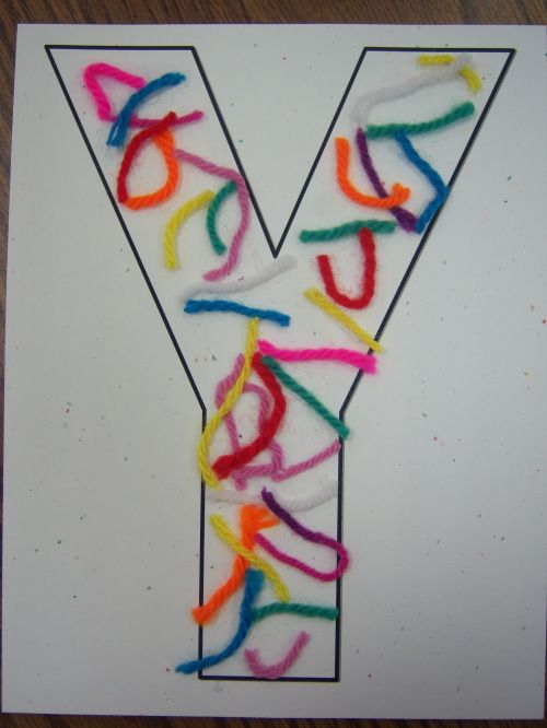 letter Y books and activities... ideas for each letter in the alphabet. We do this but make yarn scaps into letter y
