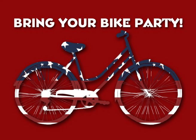 Bring Your Bike Party Bicycle Party Invitation Patriotic Bicycle