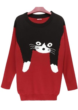 Slim Cat Cartoon Images Red Sweater - Sheinside.com