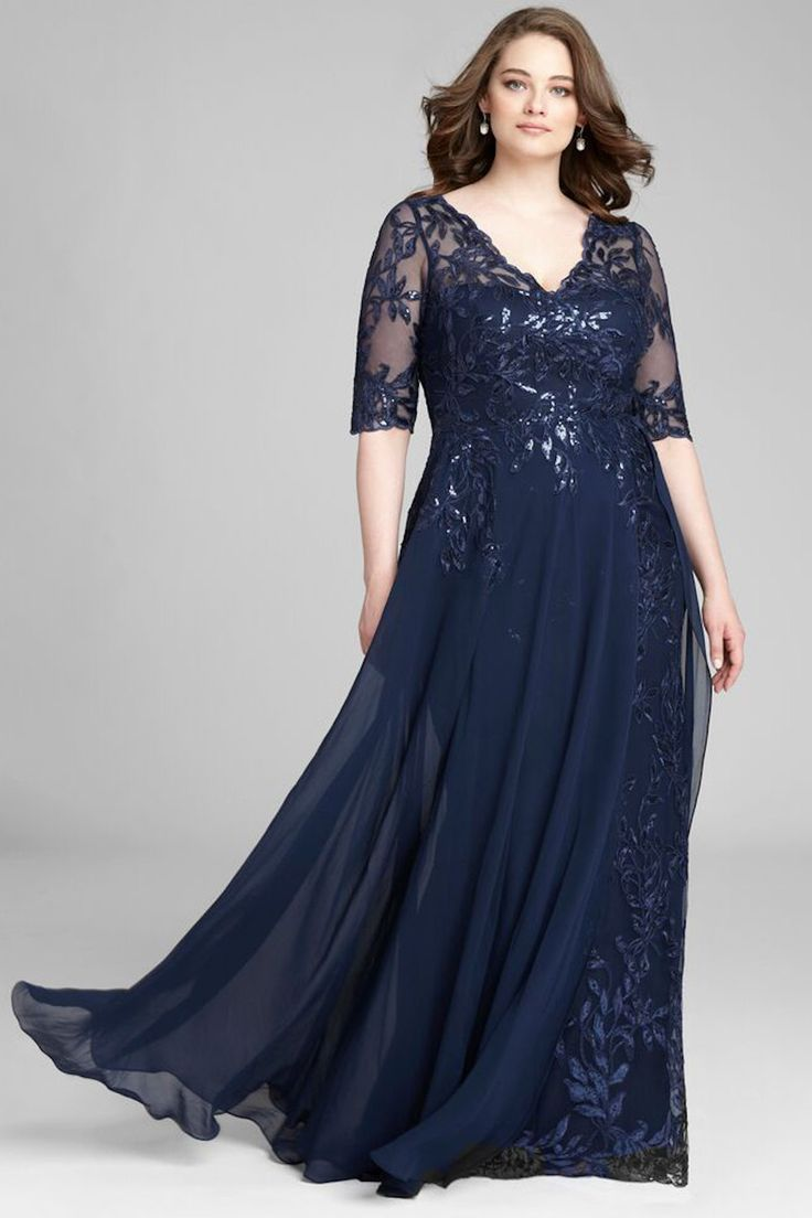 plus size lace gown and chiffon overlay skirt | teri jon