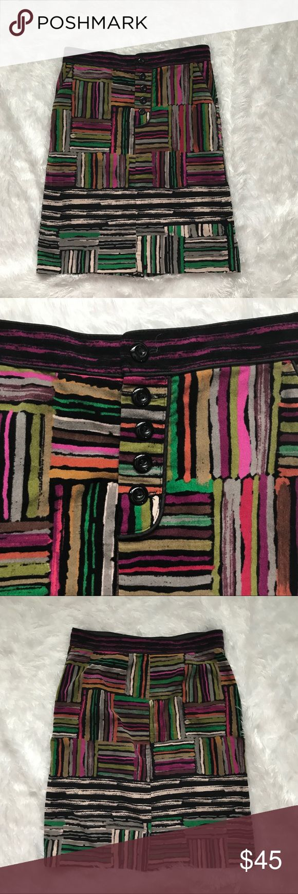 """Odille Anthropologie Velvet Spectrum Skirt sz 2 Pencil skirt in a colorful print. Button front, front pockets, Slit in back.  98% Cotton, 2% Spandex  Flat across waist approx 14.5"""", length approx 21"""", slit approx 6"""" - measurements taken laying flat and unstretched Odille Skirts"""