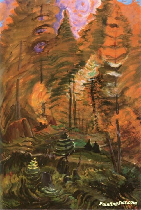 Young and Old Forest, B.C. (study for Something Unnamed) Artwork by Emily Carr Hand-painted and Art Prints on canvas for sale,you can custom the size and frame