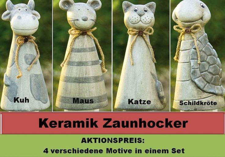 Zaunhocker, Gartenfiguren aus Keramik Katze Maus Kuh Schildkröte Höhe ca. 27 cm