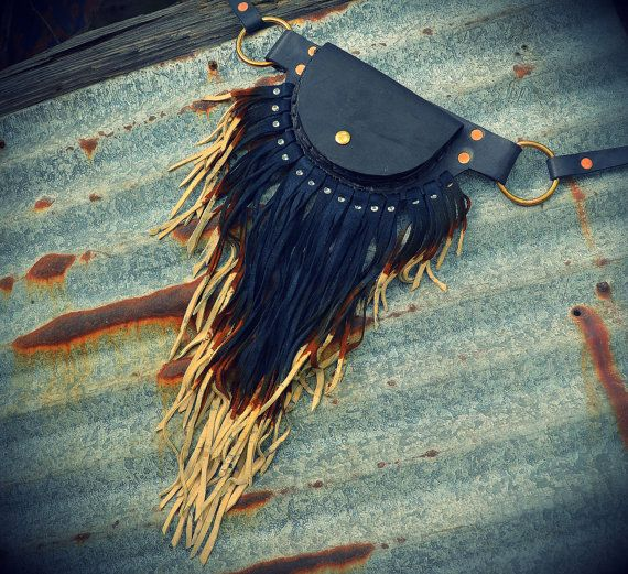 Large pouch belt with dip dye ombre leather fringe black fanny pack by crossfox