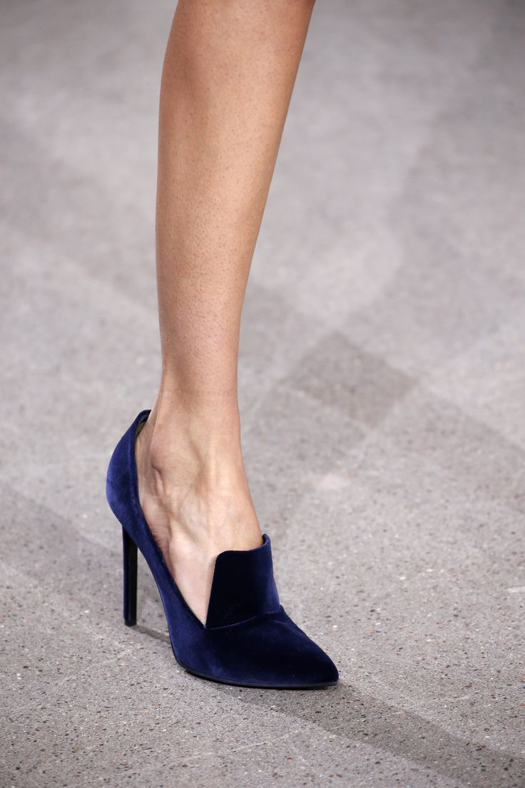 Dark Blue Velvet High Heel Loafers - Jason Wu FW16  https://ladieshighheelshoes.