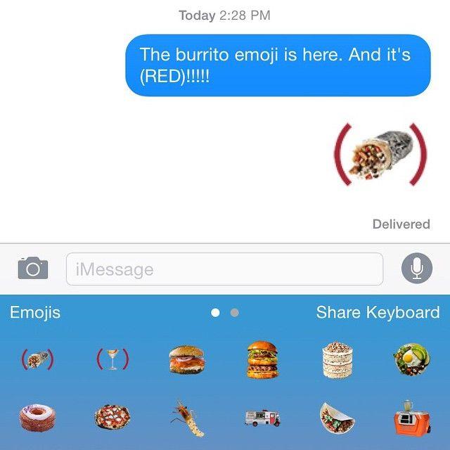 Burrito Emoji✔️ ⠀⠀⠀⠀⠀⠀⠀⠀⠀⠀⠀⠀⠀⠀⠀⠀⠀⠀ ⠀⠀⠀⠀⠀⠀⠀⠀⠀ Download @foodandwine's new keyboard & get the @RED @chipotlemexicangrill Emoji: #86AIDS #yumoji