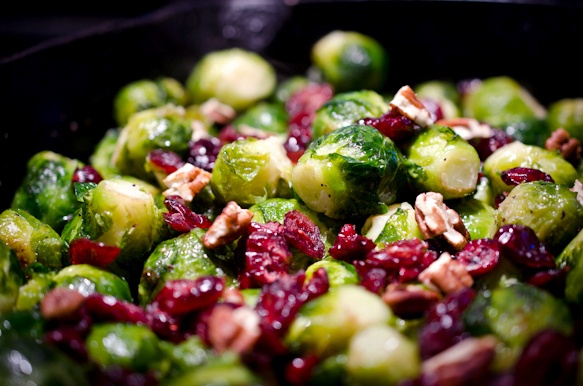 brussels sprouts with pecans and cranberries...these are in my near future #vegan