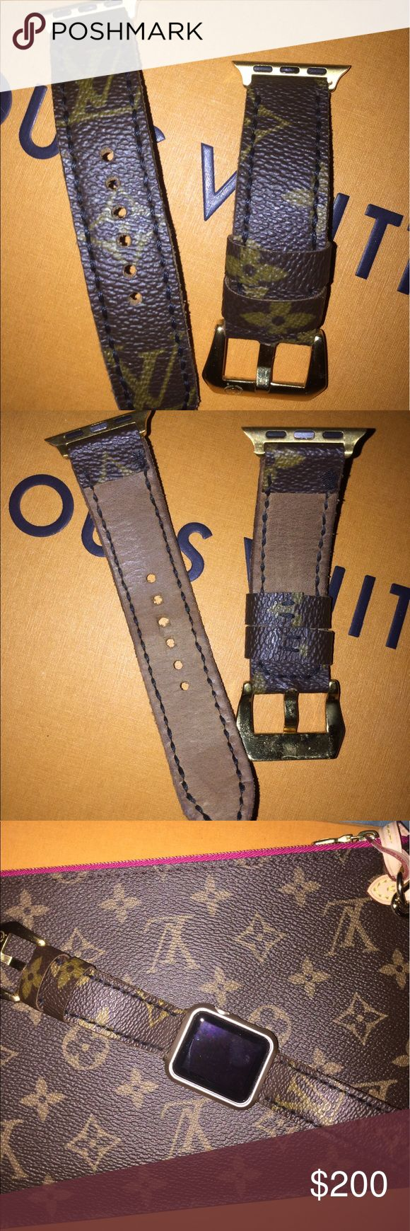Authentic Louis Vuitton Apple Watch Band 38 It's really leather band for Apple Watch 38 Made from a recycled bag from Louis Vuitton!!! Used like New Louis Vuitton Accessories Watches