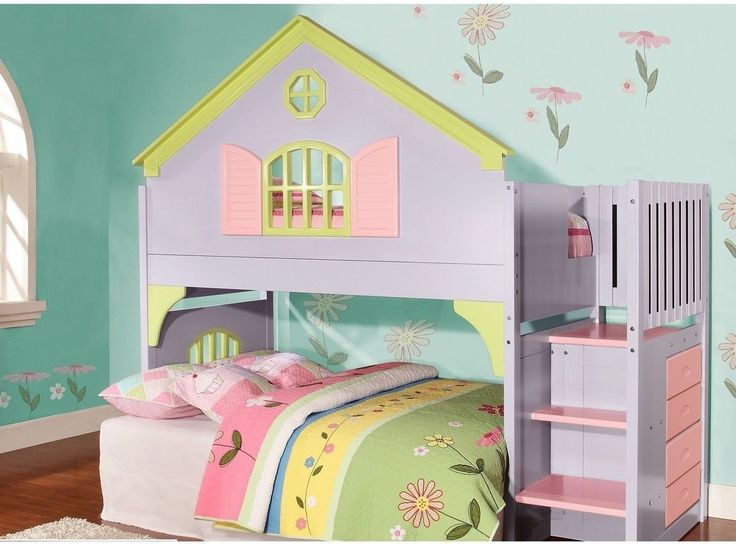Princess Kids Bed Room Bedroom Furniture Girls Twin Doll House Stair Step Loft #DoncoKids