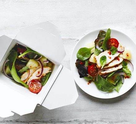 Spiced chicken & pineapple salad. This colourful salad is packed with contrasting flavours and textures - dress with sweet chilli and coriander