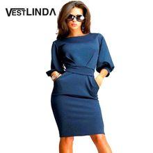 VESTLINDA Bodycon Dress Летние Сарафаны Женщины О Шея Lentern Рукава Пояса Краткая Твердые Колен Midi Dress Платье De Festa(China (Mainland))