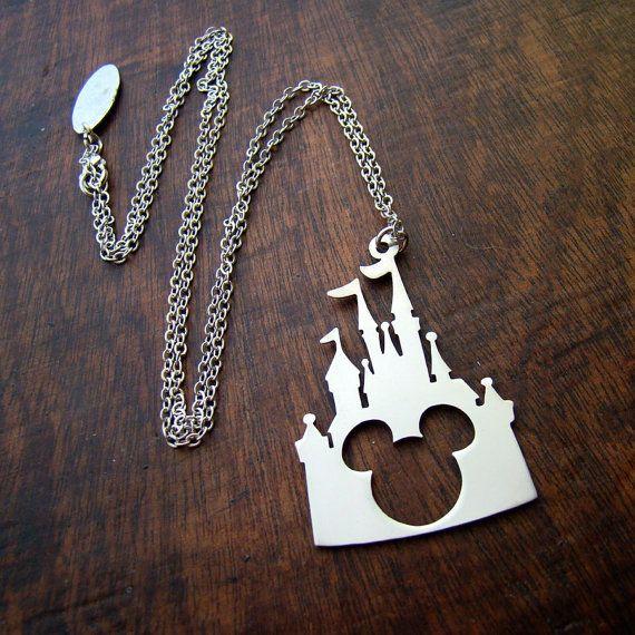 Castillo Disney Mickey cabeza colgante en bronce blanco o bronce, hecho a mano por manos especiales, joyas de disney