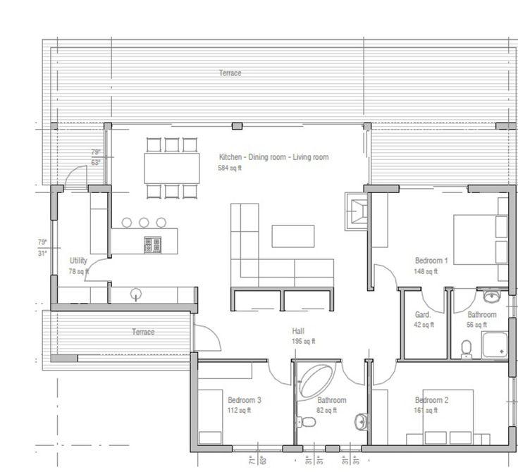 Plano de moderna casa con grandes ventanas y 3 dormitorios-3