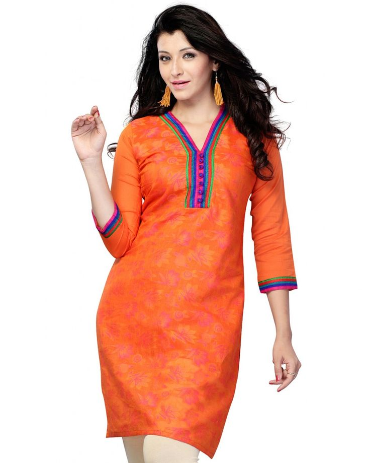 PurpleYou Orange Party/office Wear 3/4 Sleeve Women's Kurti