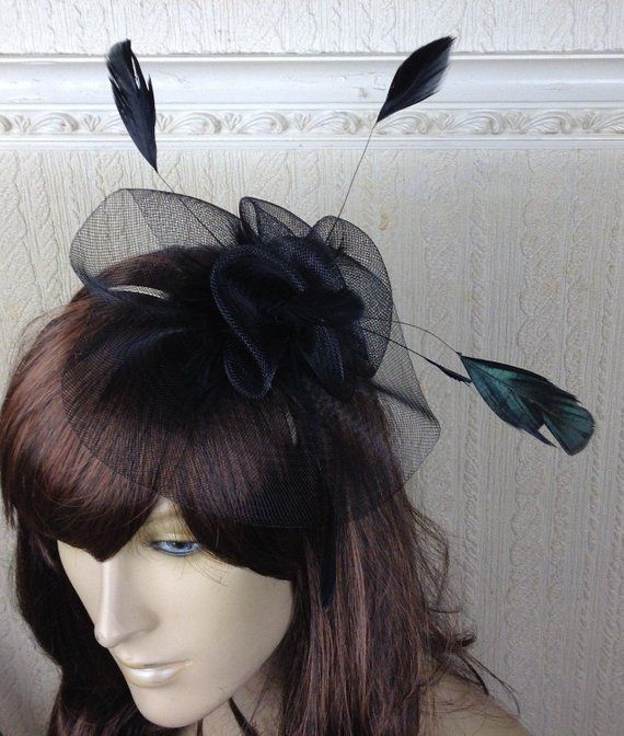7af48f11 black feather fascinator millinery burlesque headband wedding hat hair piece