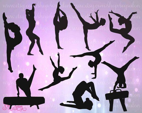 Gymnast / Gymnastics Silhouette Cutting File Set in by SVGSalon
