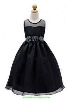 Scoop Organza Long A-line Black Flower Girl Dress(BTFG253)www.bridesmaidtide.com.au