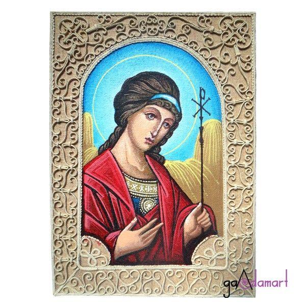 Icoana unicat pictata pe panza, cu ornamentemacrame - Sf. Inger