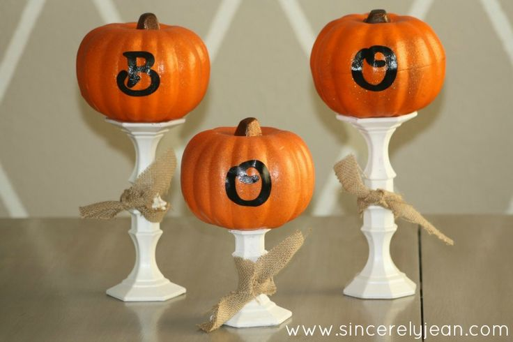Boo pumpkin candlesticks - easy and beautiful fall and Halloween craft using candlesticks and foam pumpkins! www.sincerelyjean.com