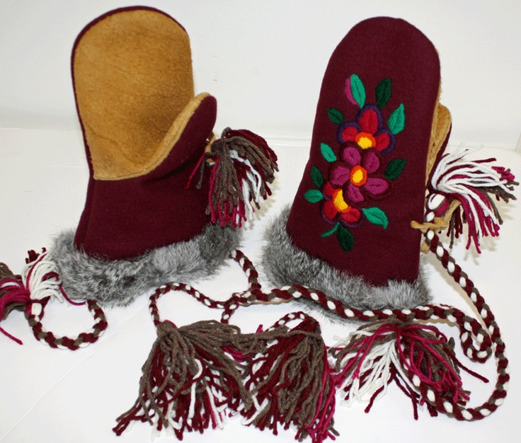 Burgundy / Moose Hide Mittens 017C. Made by: Dora Duncan, a Sahtu Dene of Colville Lake, NT residing in Alberta.