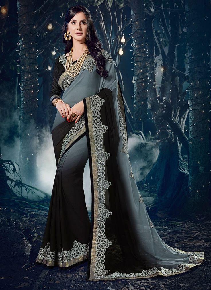 Shop Online Grey Black Chiffon #DesignerSarees @Chennaistore.com