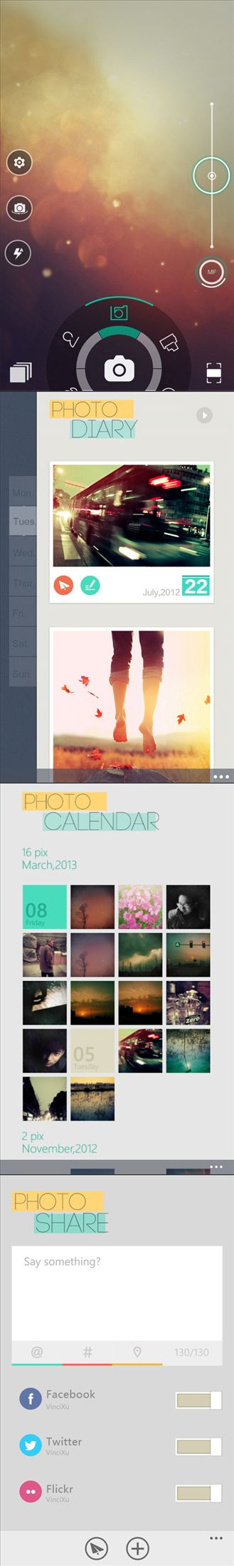 Camera 360 for WIndows Phone 8.  Simple rotary filters for photography + photo diary tools.  Elegant and simple flat UI