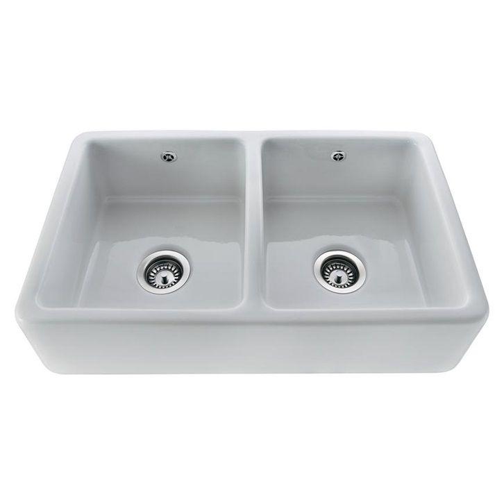 Lamona White Ceramic Double Belfast Sink Belfast Sink Sink Double Bowl Kitchen Sink
