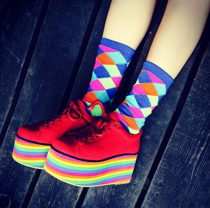 Japanese Harajuku zipper Japanese soft girl spank Street beat ayumi amo rainbow shoes platform shoes platform shoes - Taobao