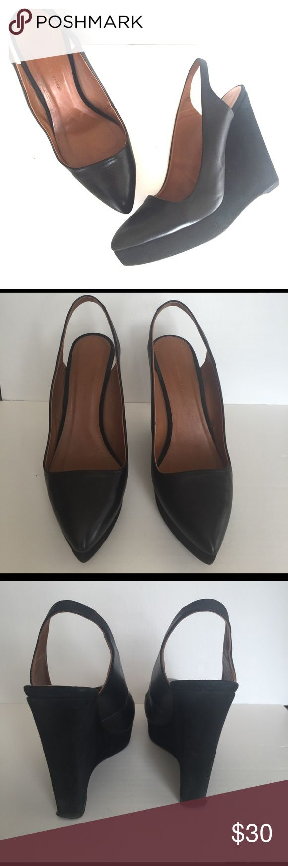 """Zara Leather and Suede Wedges Black leather and suede wedges from Zara Woman. Leather upper with suede wedge. Size 40 (10). 1"""" platform. 5"""" heel. Pointed toe. Zara Shoes Wedges"""