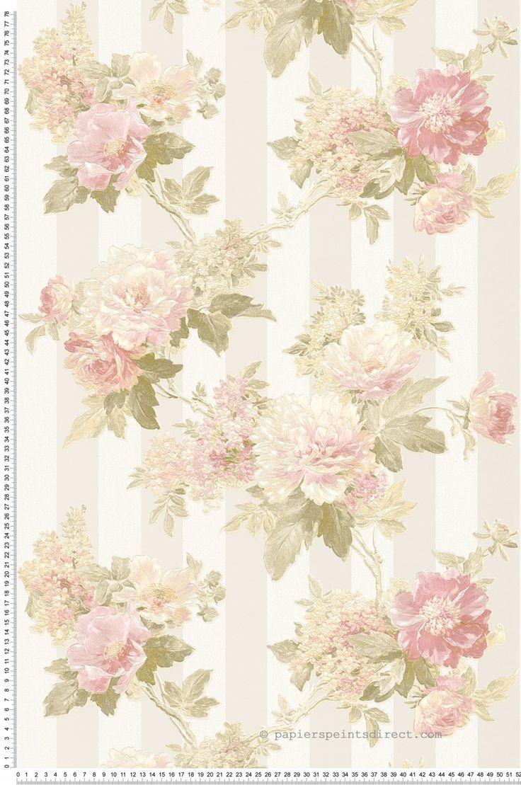Fleurs et rayures beiges - Papier peint Romantica 3 d'AS Création