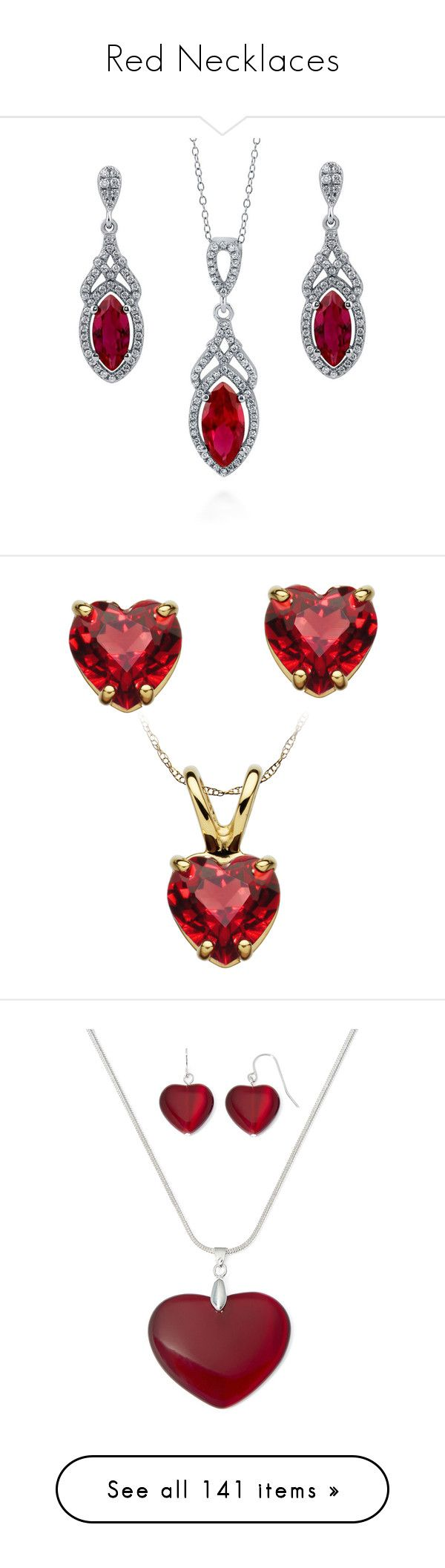 """""""Red Necklaces"""" by megsjessd99 ❤ liked on Polyvore featuring jewelry, earrings, necklaces, jewelry sets, sets, women's accessories, cubic zirconia pendant necklace, ruby earrings, chain pendants and cubic zirconia earrings"""