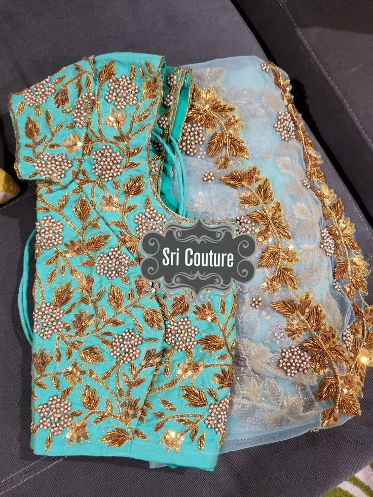 blue saree paired with sea green heavy zardosi and pearls work with sequins hand embrideory reach me at 813-812-9004 https://www.facebook.com/sricouture/