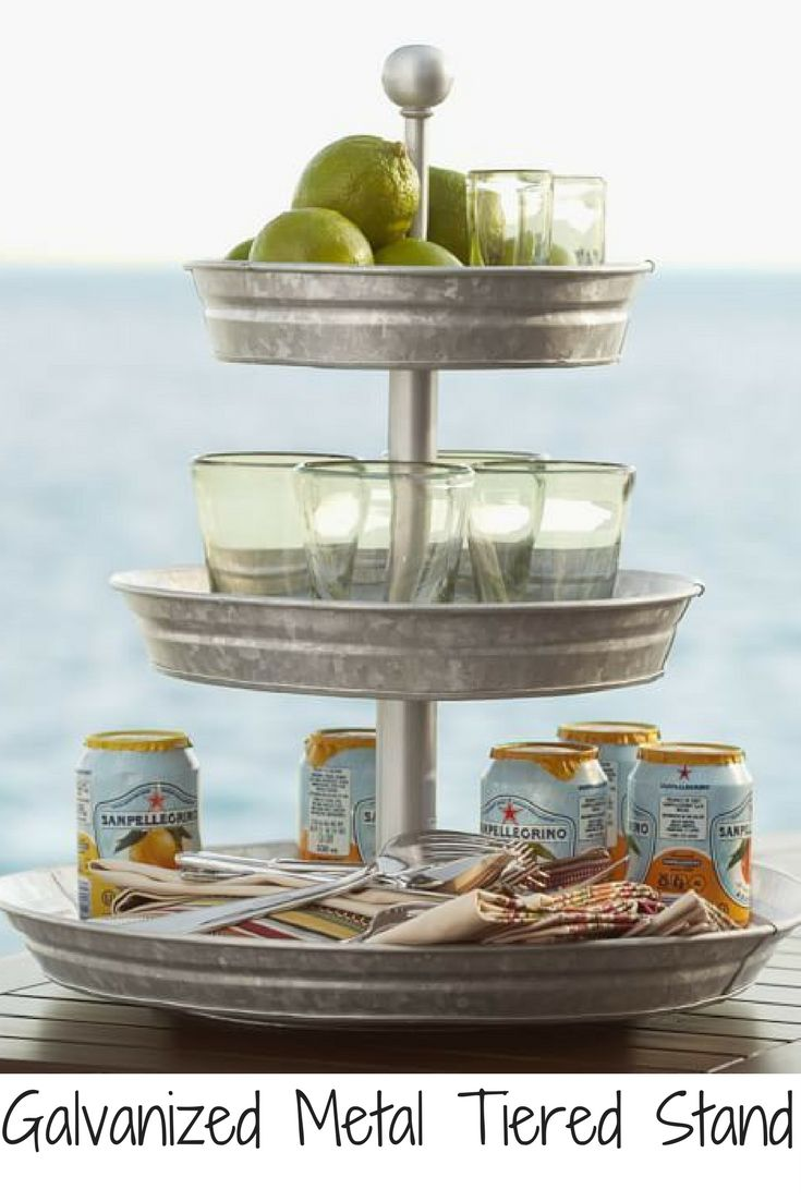 Recognized for its rustic character as much as its function, galvanized iron has visible crystallites on the surface that create a distinctive aesthetic appeal. Perfect for casual entertainment indoors or out, our tiered stand presents your favorite beverages, condiments and tabletop accessories with style. #afflink