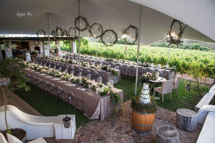 Wedding in the Newstead vineyards.  Styled by Sue Lund, Photo credit Khallar Ohr,  WeddingsbyMarius