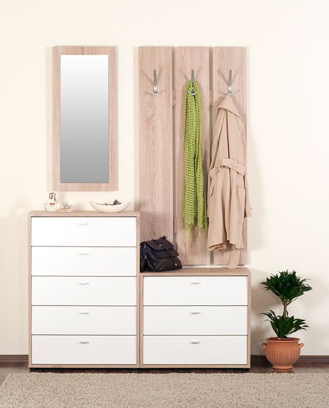 Zero előszoba világos sonoma tölgy - fehér színben.
