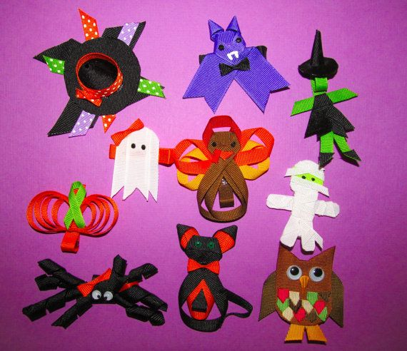 Halloween or fall barette clippie, ribbon sculpture on Etsy, $4.99