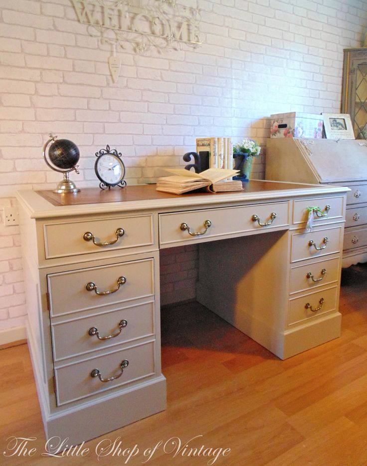 Large Partners Twin Pedestal Desk Painted In Farrow Ball Old White With Brown Leather Insert Furniture ProjectsDiy ProjectsShabby Chic