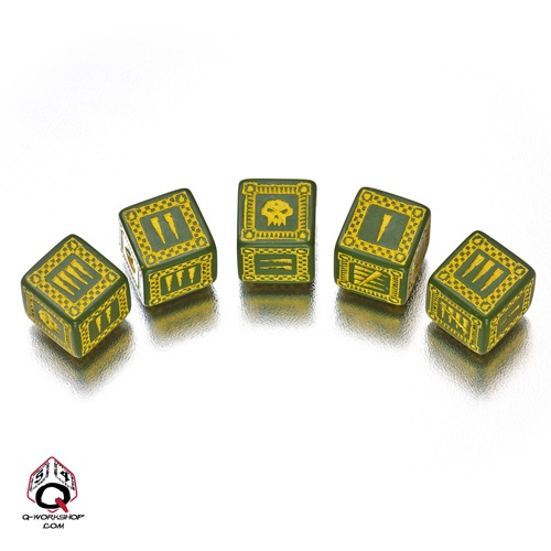 Green-yellow Orcish battle dice set