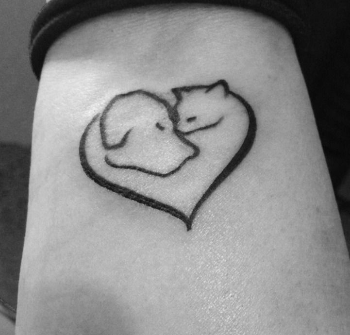 Cat and Dog Heart Tattoo